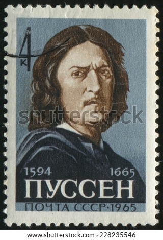 USSR - CIRCA 1965: A stamp printed in soviet union shows Nicolas Poussin (1594 -1665) - French artist, painter, who stood at the origins of classical painting, circa 1965 - stock photo
