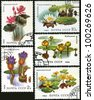 USSR - CIRCA 1984: A stamp printed in the USSR showing aquatic plant: Indian lotus, White Water-Lily, Potbelly yellow, Nymphoides Spatterdock, Euryale ferox, circa 1984. - stock photo