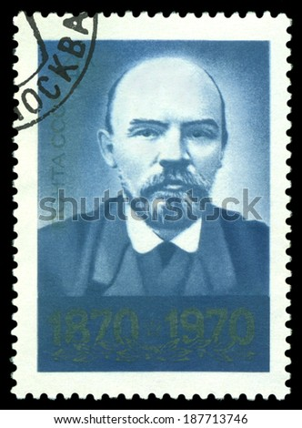 USSR - CIRCA 1970: A Stamp printed in the USSR  shows  Photo of Lenin,  circa 1970 - stock photo
