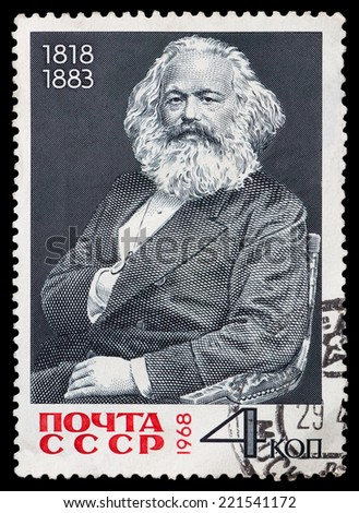 USSR - CIRCA 1968: A Stamp printed in the USSR shows portrait Carl Marx, circa 1968. - stock photo