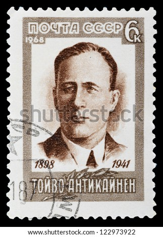 USSR - CIRCA 1968: A stamp printed in the USSR, shows TOYVO ANTIKAYNEN (1898-1941), circa 1968