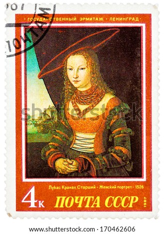 """USSR - CIRCA 1987: A stamp printed in USSR (Russia) shows a painting """"Portrait of a Woman"""" by Cranach with the same inscription, series """"West European Art in Hermitage Museum, Leningrad"""", circa 1987 - stock photo"""