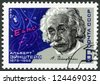 USSR - CIRCA 1979: A stamp printed in USSR shows Albert Einstein (1879-1955), theoretical physicist, Equation and Signature, circa 1979 - stock photo