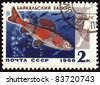 "USSR - CIRCA 1966: A stamp printed in USSR shows Baikal grayling, series ""Commercial fish of Lake Baikal"", circa 1966 - stock photo"