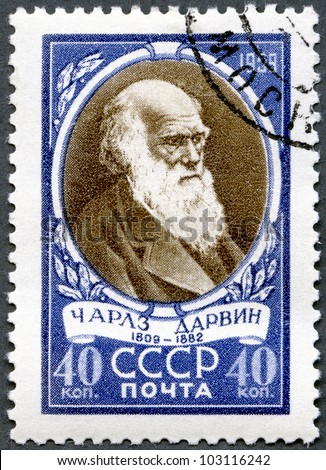 USSR - CIRCA 1959: A stamp printed in USSR shows Charles Darwin (1809-1882), English biologist, circa 1959 - stock photo