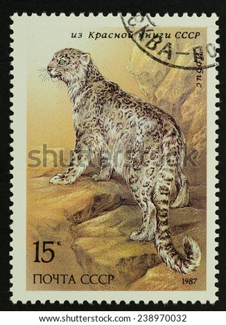 USSR - CIRCA 1987 : A stamp printed in USSR shows image of Bobcats ,1987 - stock photo