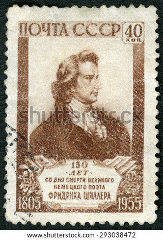 USSR - CIRCA 1955: A stamp printed in USSR shows Johann Christoph Friedrich von Schiller (1759-1805), 150th anniversary of the death, German poet, circa 1955 - stock photo