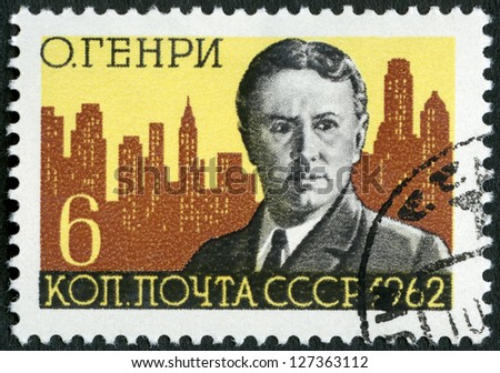 USSR - CIRCA 1962: A stamp printed in USSR shows O. Henry and New York Skyline (William Sidney Porter, 1862-1910), American writer, circa 1962 - stock photo