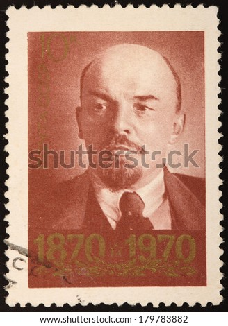 USSR - CIRCA 1970: A stamp printed in USSR shows portret of coutry head, name Lenin, circa 1970