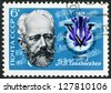 USSR - CIRCA 1974: A stamp printed in USSR shows Pyotr Ilyich Tchaikovsky (1840-1893), pianist and violinist, 5th International Tchaikovsky Competition, Moscow, circa 1974 - stock photo
