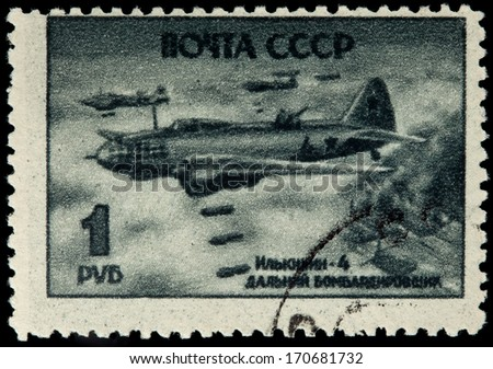 USSR - CIRCA 1945: A Stamp Printed in USSR Shows the Airplane Il-4, circa 1945 - stock photo