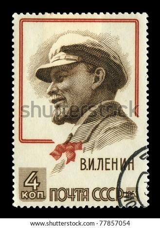 USSR - CIRCA 1963 A stamp shows Vladimir Lenin portrait, circa 1963 - stock photo