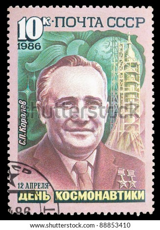 USSR - CIRCA 1986: An airmail stamp printed in USSR shows a spaceman S. Korolev, series, circa 1986. - stock photo