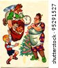 USSR - CIRCA 1989: Postcard printed in the USSR shows draw by Boris Ilyukhin - Carlson, dressed as Santa Claus congratulates Miss Bock and Baby with New Year, circa 1989 - stock photo