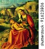 USSR - CIRCA 1983; Postcard printed in the USSR shows draw by Giorgione (1478 - 1510) The Virgin and Child in a Landscape. C. 1504. Hermitage, St. Petersburg. Reproduction of an old postcard. - stock photo