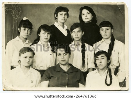 Ussr - CIRCA 1970s: An antique Black & White photo show group of schoolgirls - stock photo