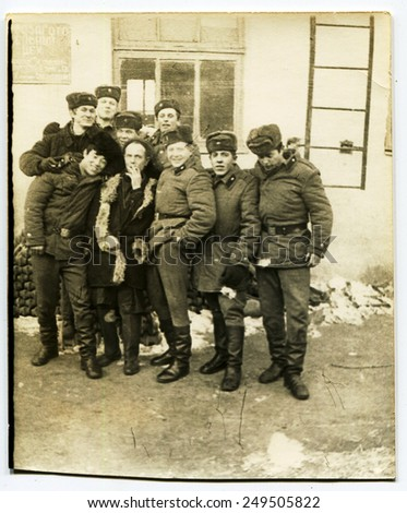 Ussr - CIRCA 1970s: An antique Black & White photo show group soldiers