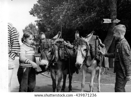 USSR - CIRCA 1970s: Retro photo shows children with donkeys in the park. Vintage black & white photography.