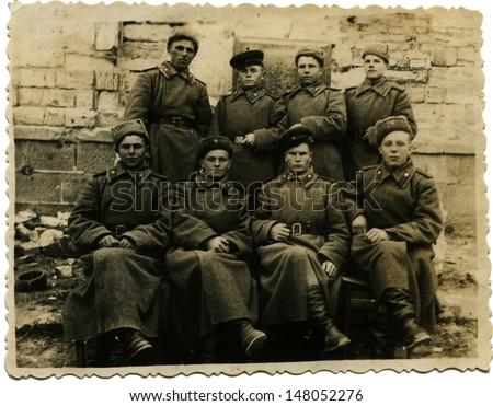 USSR - CIRCA 1970s: Vintage photo shows group of soviet soldiers in winter uniform, 1970s