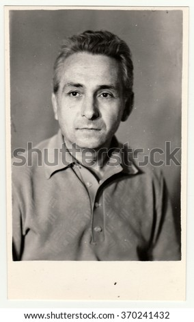 USSR - CIRCA 1980s: Vintage portrait photo shows a mature man.