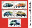 USSR - CIRCA 1986: series of stamps of the USSR trucks circa 1986 - stock photo