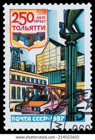 USSR - CIRCA 1987: stamp printed by USSR, dedicated to the city of Togliatti, circa 1987 - stock photo