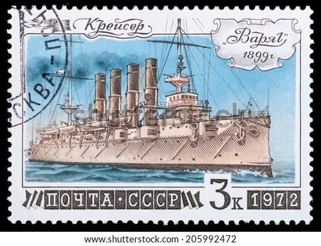 "USSR- Circa 1972: USSR stamp dedicated Cruiser ""Varyag"" , circa 1972. - stock photo"