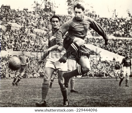 USSR - CIRCA 1954: Vintage photo shows soccer team, 1954