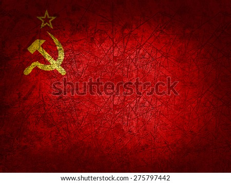 Ussr flag and wall background - stock photo