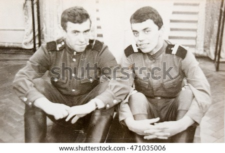 USSR, LENINGRAD - CIRCA 1968: Vintage photo of two soldiers of the Soviet Army