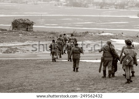 USSR Soldiers in World War II era battle - stock photo
