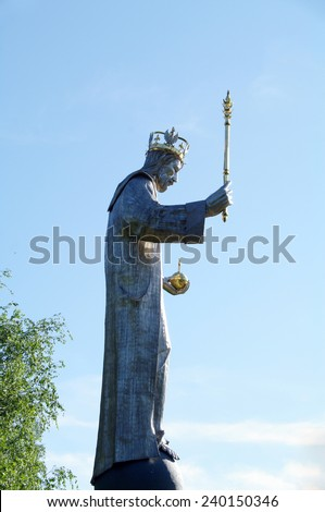 USTRON, SOUTH POLAND - July 24, 2013 Statue of Jesus Christ of Poland has a 10,5 meter, weighs 3 tons. Is a health resort town in Cieszyn Silesia. Silesian Voivodeship.