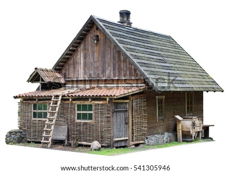 Usual no name wooden vintage  rural shed for storage of firewood and agricultural tools. Isolated with patch