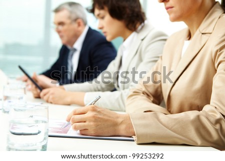 Usual working day at office, business people concentrated on work - stock photo