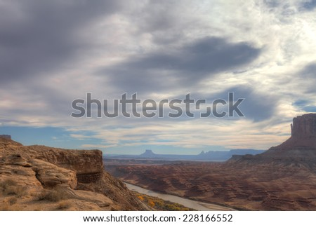 UT-Canyonlands National Park-Island in the Sky-White Rim Road-View of the Green River. - stock photo