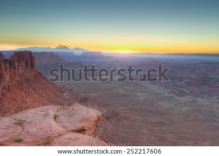 UT-Canyonlands National Park-Maze District-Sunrise on Panorama Point - stock photo