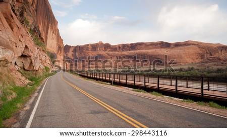 Utah Outback Highway 128 Colorado River Bike Path - stock photo