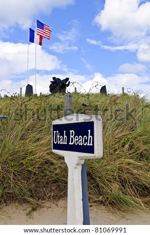 utah sign and world war statue on utah beach, normandy,france
