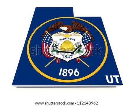 utah state flag on 3D map - stock photo