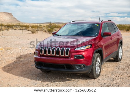 Utah, USA - October 1, 2015: View of  a 2015 Jeep Cherokee, a popular SUV in the United States.