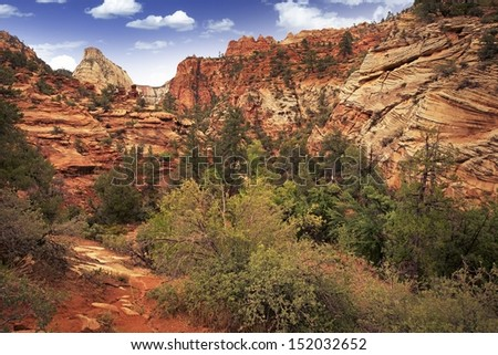 Utah Zion Landscape. Zion National Park in Southern Utah State, USA. - stock photo