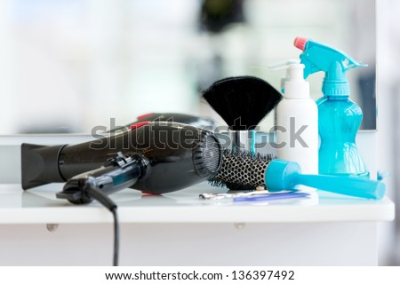 Utensils for hair at the beauty salon on a station - stock photo