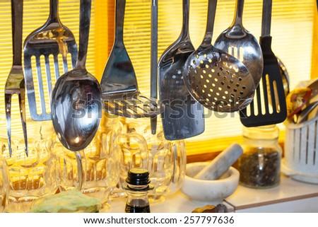 utensils in a kitchen - stock photo