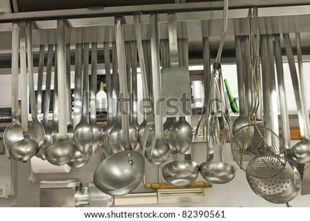 utensils in a kitchen restaurant - stock photo