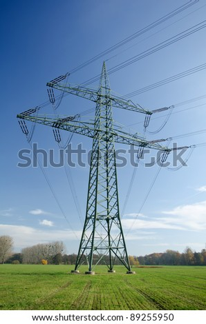 Utility pole with wires - stock photo