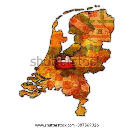 utrech flag on old vintage map of provinces in netherlands - stock photo