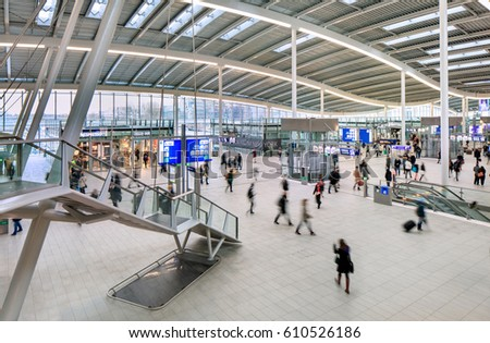 UTRECHT-MARCH 2, 2017. Spacious interior of Utrecht Central Railway Station, the largest and busiest railway station in the Netherlands, with 16 platforms and more than 176,000 passengers per day.
