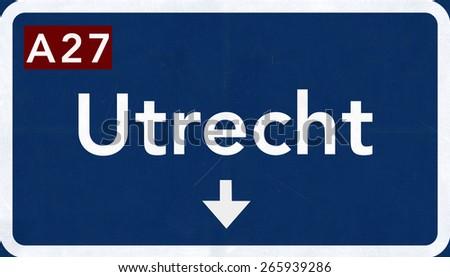 Utrecht Netherlands Highway Road Sign - stock photo