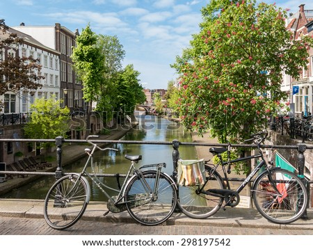 UTRECHT, NETHERLANDS - MAY 21, 2015: Bicycles on bridge of Oudegracht canal in Utrecht, the Netherlands