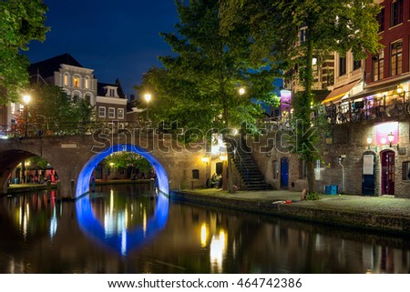 UTRECHT, THE NETHERLANDS - JUNE 30: Illuminated Oudegracht canal on June 30, 2016 in the centre of Utrecht, The Netherlands